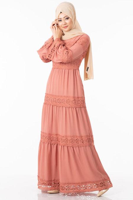 Pudra Dantelli Volan Kol Tesettür Elbise