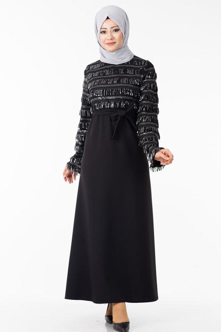 Pullu Saçaklı Tesettür Elbise