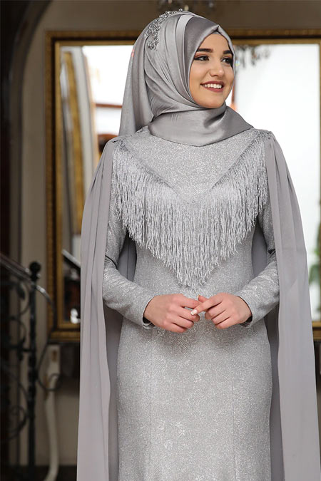 Rana Zenn Gri Lamine Simli Abiye Elbise