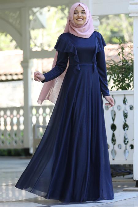 Rana Zenn Lacivert Bahar Elbise