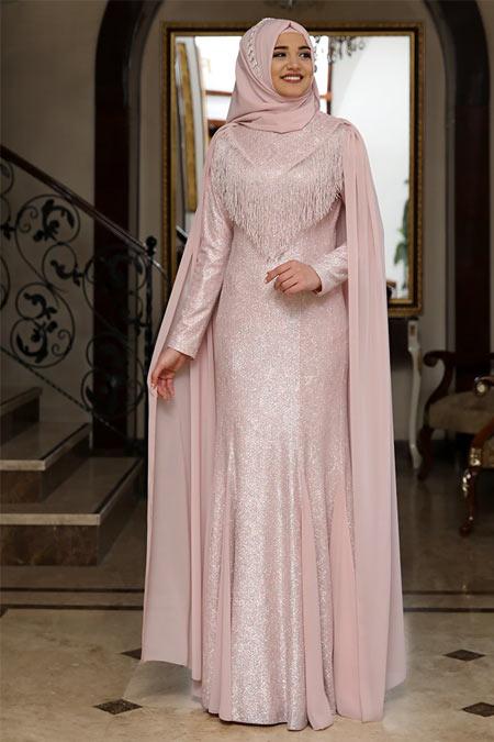 Rana Zenn Pudra Lamine Simli Abiye Elbise