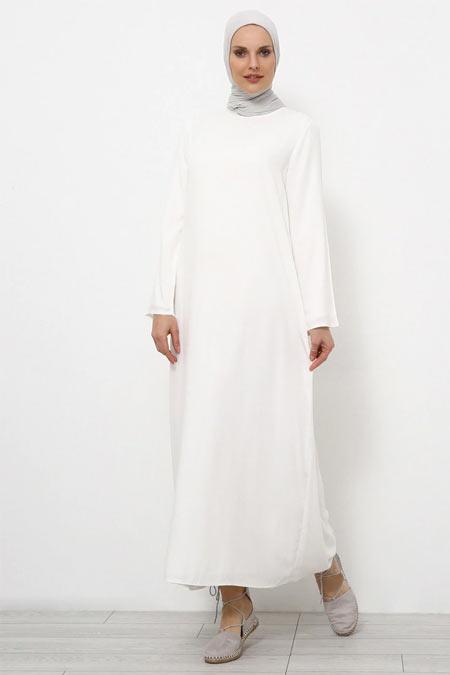 Refka Ekru Doğal Kumaşlı Elbise