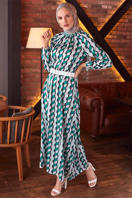 Refka Haki Kemer Detaylı Desenli Elbise