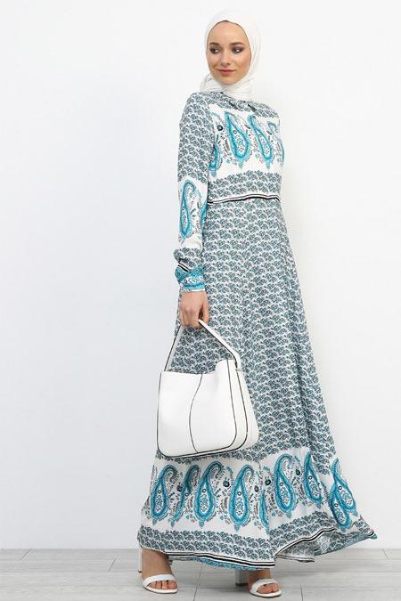 Refka Mavi Doğal Kumaşlı Gizli Düğmeli Elbise