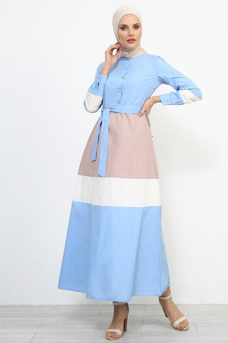 Refka Mavi Düğme Detaylı Kuşaklı Elbise