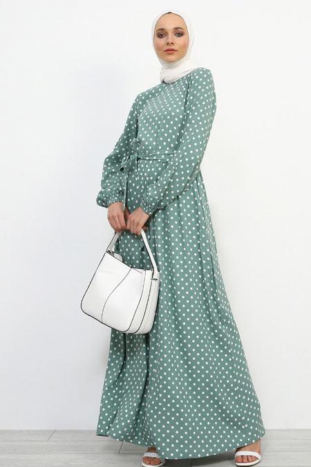 Refka Mint Yeşili Doğal Kumaşlı Puantiyeli Elbise
