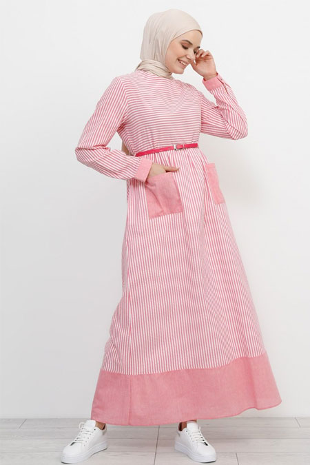 Refka Pembe Kemer Detaylı Pamuklu Elbise