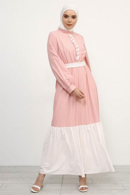 Refka Pudra Fırfır Detaylı Puantiyeli Elbise