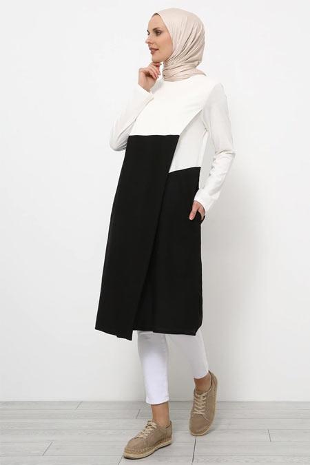 Refka Siyah Beyaz Doğal Kumaşlı Garnili Tunik