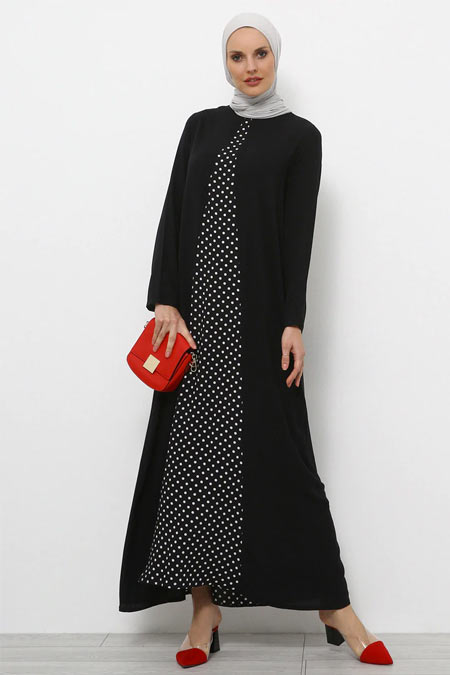 Refka Siyah Doğal Kumaşlı Puantiyeli Elbise