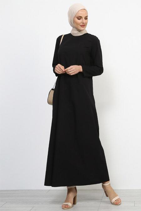 Refka Siyah Doğal Kumaşlı Sırtı Düğmeli Elbise