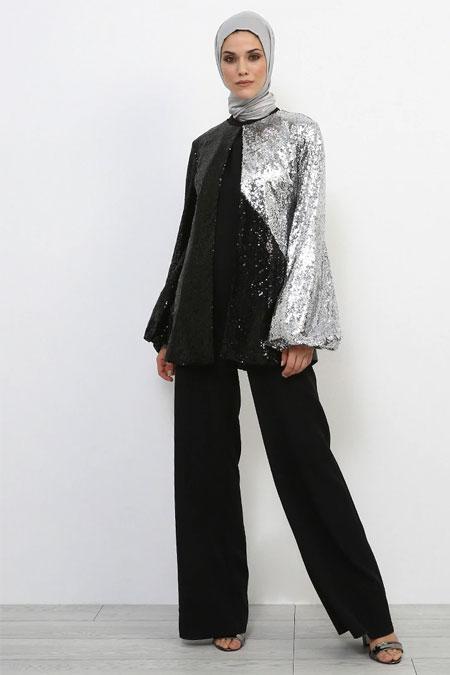 Refka Siyah Gri Balon Kol Detaylı Pullu Ceket