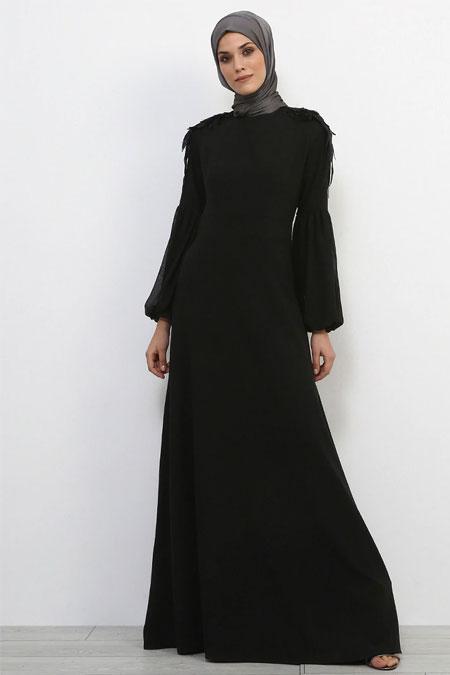 Refka Siyah Omuz Detaylı Abiye Elbise