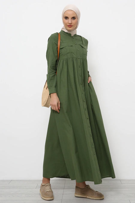 Refka Soft Haki Doğal Kumaşlı Keten Elbise