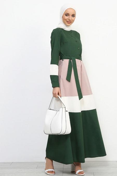 Refka Yeşil Düğme Detaylı Kuşaklı Elbise
