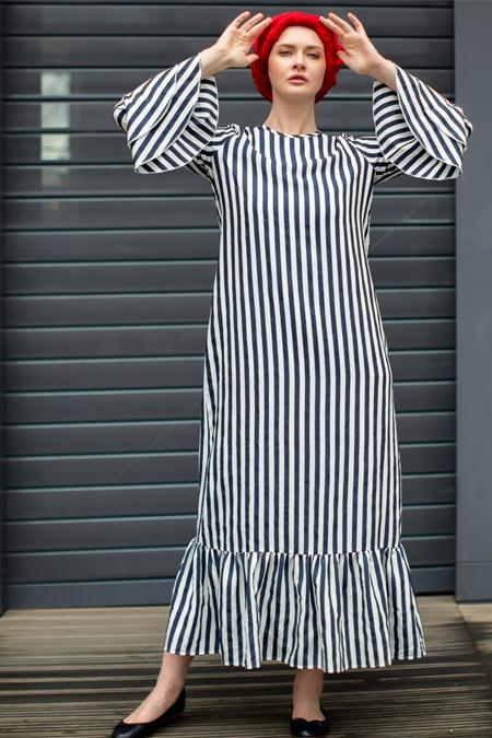 Sazze Design Lacivert Tesettür Elbise