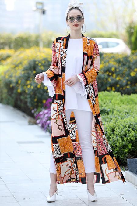 Selma Sarı Design Hardal Uzun Kimono Ceket