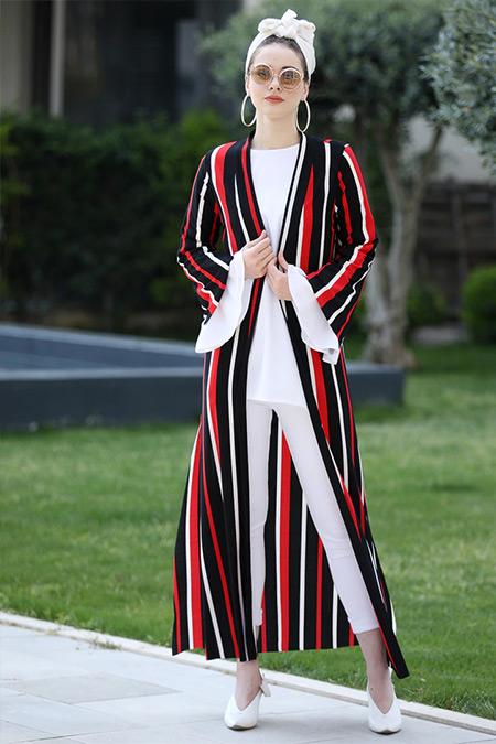 Selma Sarı Design Kırmızı Uzun Kimono Ceket