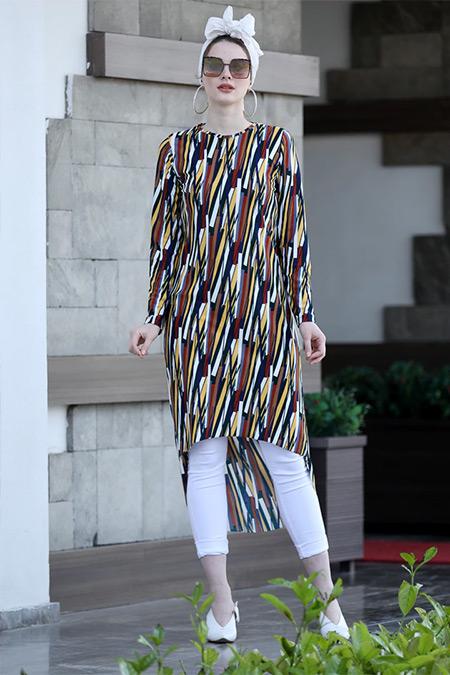 Selma Sarı Design Karışık Renkli Gonca Tunik