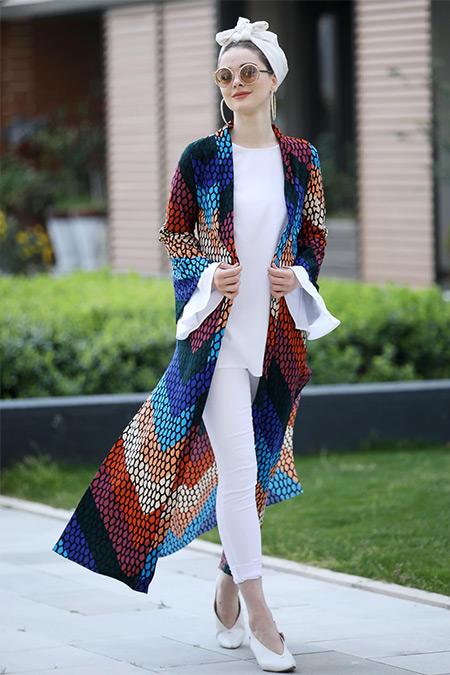 Selma Sarı Design Karışık Renkli Uzun Kimono Ceket