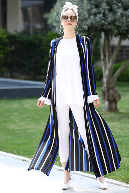 Selma Sarı Design Saks Uzun Kimono Ceket