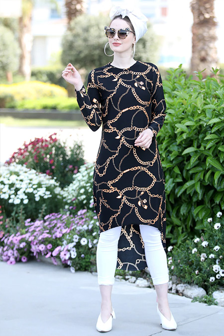 Selma Sarı Design Siyah Gold Gonca Tunik