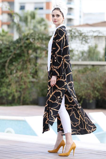 Selma Sarı Design Siyah Gold Uzun Kimono Ceket