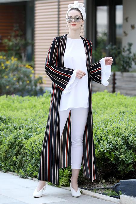 Selma Sarı Design Siyah Kiremit Uzun Kimono Ceket