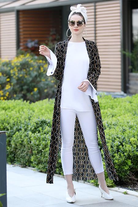 Selma Sarı Design Siyah Uzun Kimono Ceket