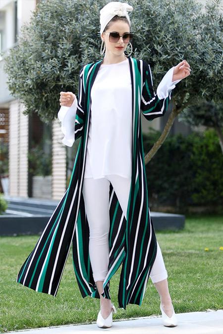 Selma Sarı Design Yeşil Uzun Kimono Ceket