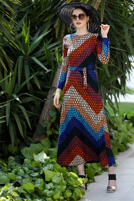 Selma Sarı Design Karışık Renkli Lale Elbise