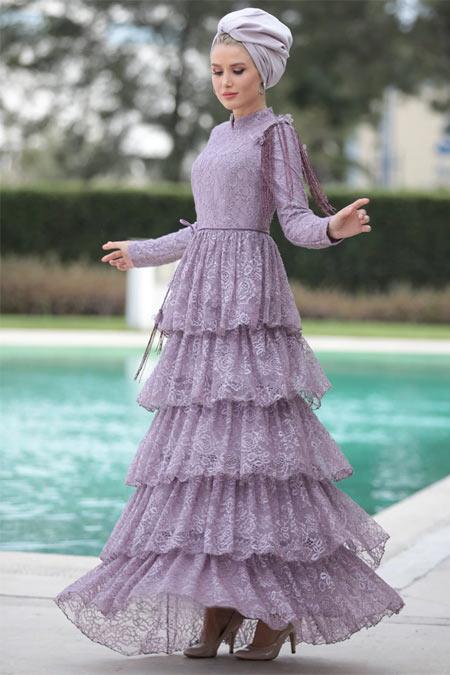 Selma Sarı Design Lila Kat Kat Abiye Elbise