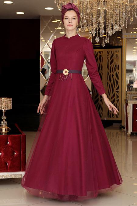 Selma Sarı Design Mürdüm Tül Detaylı Abiye Elbise