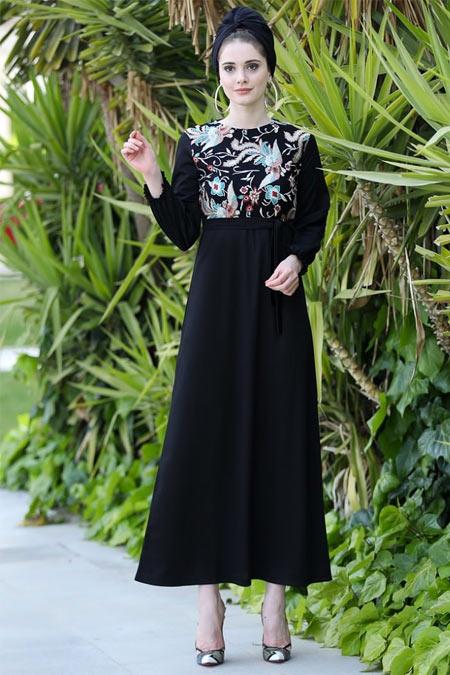 Selma Sarı Design Siyah Önü Nakışlı Elbise