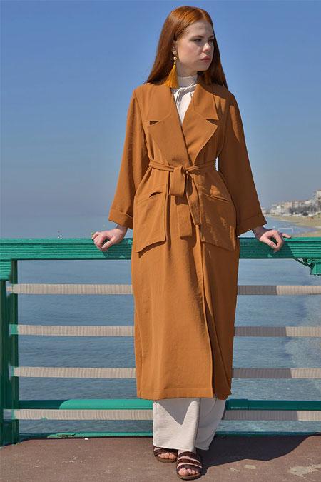 Ayşen Özen Tarçın Cep Detaylı Uzun Ceket