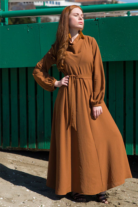 Ayşen Özen Tarçın Degaje Yaka Elbise