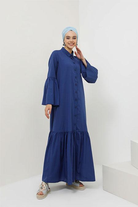 Benin Açık Lacivert Doğal Kumaşlı Boydan Düğmeli Elbise