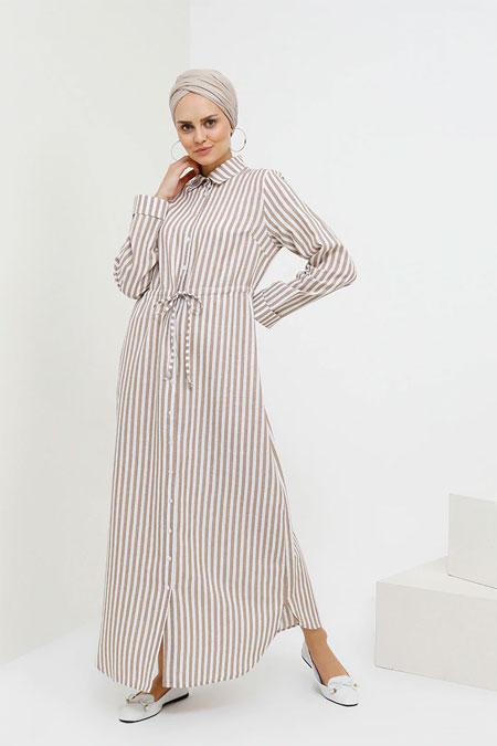 Benin Bej Çizgili Elbise