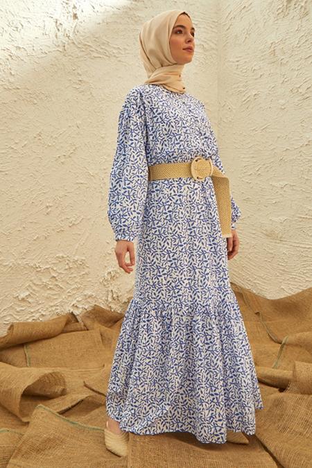 Benin Cini Mavisi Doğal Kumaşlı Desenli Elbise