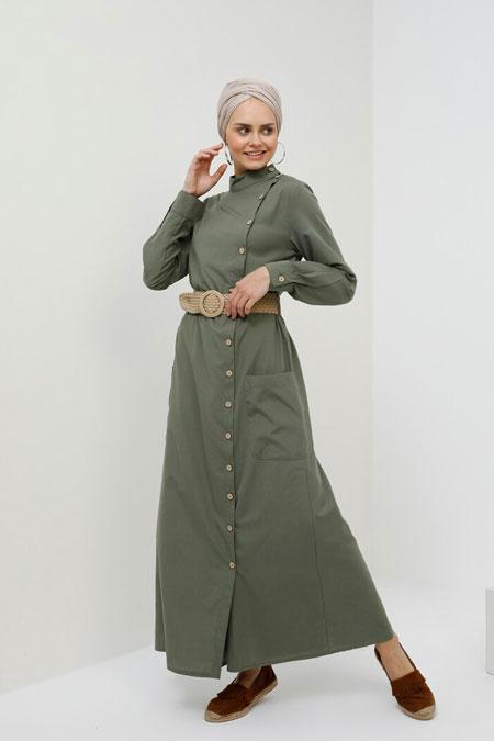 Benin Haki Doğal Kumaşlı Yandan Düğmeli Elbise