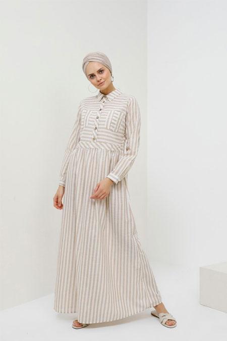 Benin Kum Beji Doğal Kumaşlı Çizgili Elbise