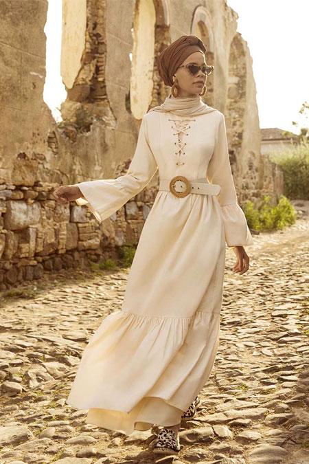 Benin Pudra Fırfır Detaylı Bağcıklı Elbise