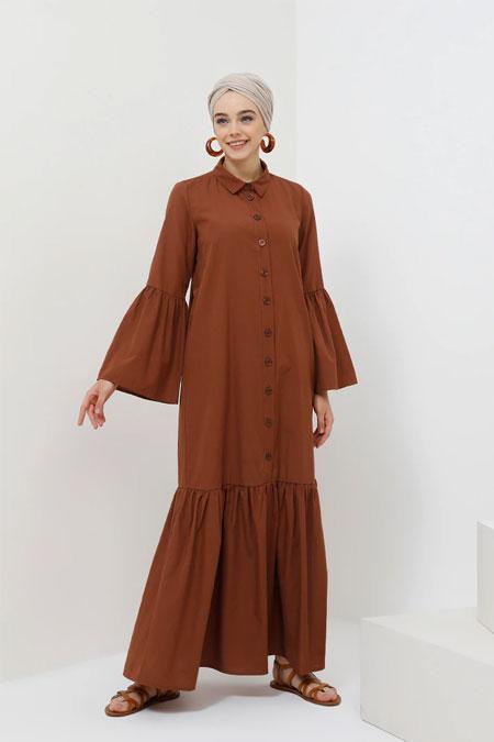 Benin Tarçın Doğal Kumaşlı Boydan Düğmeli Elbise