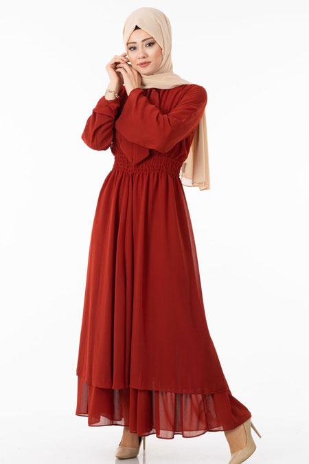 Bordo Şifonlu Fular Detaylı Tesettür Elbise