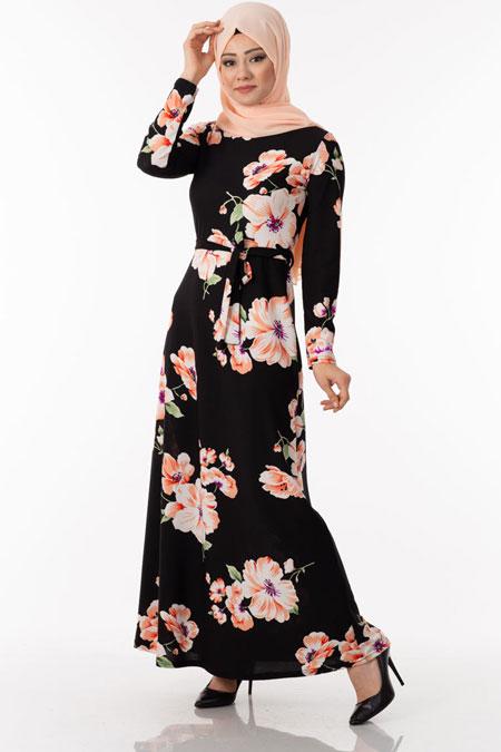Çiçek Desen Kuşaklı Tesettür Elbise