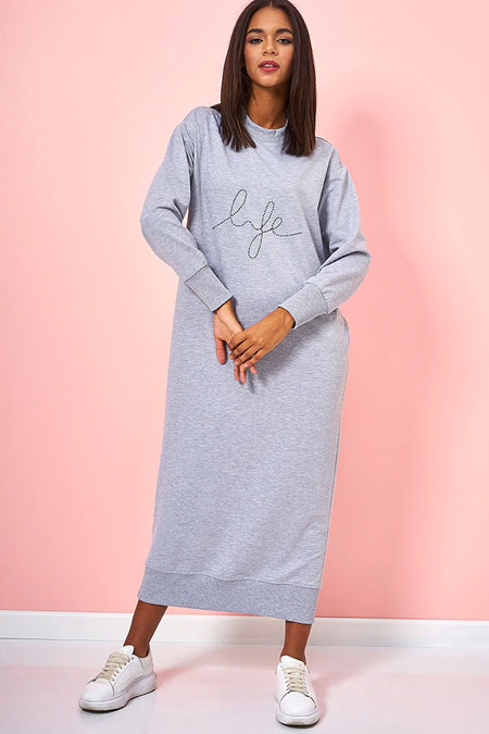 Gri Yazı Detaylı Basic Elbise