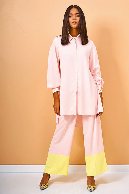 Pudra Tunik Pantolon İkili Takım