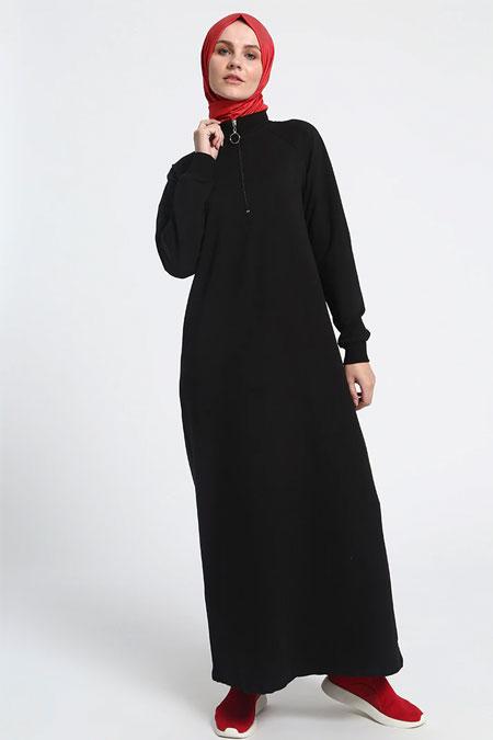 Everyday Basic Siyah Fermuar Detaylı Spor Elbise
