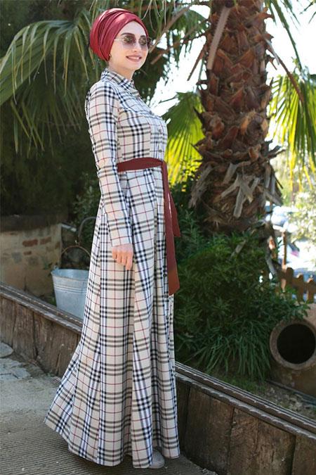 Gamze Özkul Krem Ekose Elbise