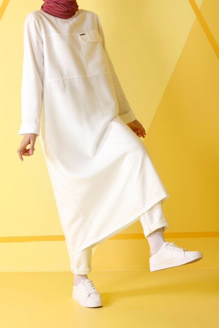 HE-QA Beyaz Tek Cepli Tunik